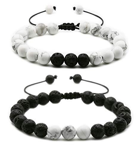 HEDQFM 2pcs 8mm Howlite bracelet Natural Volcanic Lava Stone White Turquoise Stone Bracelet Aromatherapy Essential Oil Diffuser Bracelets Couples Yoga Beads Bracelets for Men and Women