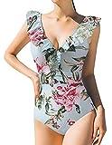 Adicloz Mujer Traje de Baño Una Pieza Deep V Profundo Estampado de Rayas y Flores, Bikini Impresión de Rayas Volante Fruncido, Bañadores Mujer Push Up Top Beachwear