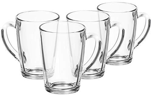 com-four® 4x Teeglas - Trinkgläser aus Glas mit Henkel - Ideal für Tee, Kakao, Kaffee und Cappuccino (04 Stück - 315ml)