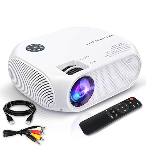 """Mini Projector, BONSEN Portable Video Projector 1080P and 150"""" Display Supported, Outdoor LED Movie Phone Projector for Home Compatible with TV, PS4, HDMI, VGA, TF, AV, USB and Remote Control"""