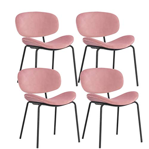 MIFI Set di 4 sedie da Pranzo Sedie da Pranzo retrò Vintage Sedie da Trucco Cuscini Morbidi in Velluto Sedile e Schienale con Gambe in Metallo Sedie da Cucina per Sala da Pranzo e Soggiorno, Rosa