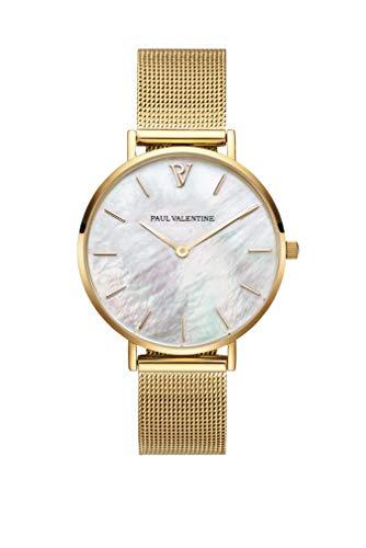 Paul Valentine Damenuhr - Gold Seashell Mesh - 36 mm Armbanduhr mit schönem Ziffernblatt aus Perlmutt, kratzfestes Glas, Mesh-Armband, Uhr für Damen