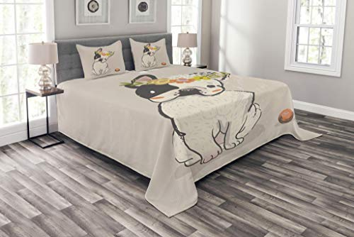 Lunarable Dog Bedspread, Hand Drawn French Bulldog with Wreath on Its Head Watercolor Domestic Pet Illustration, Decorative Quilted 3 Piece Coverlet Set with 2 Pillow Shams, Queen Size, Multicolor
