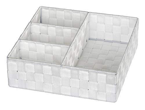 WENKO Organiseur de salle de bains Adria 4 compartiments, blanc - 4 compartiments, Polypropylène, 32 x 10 x 32 cm, Blanc