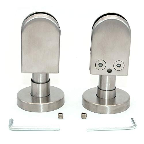 Set of 2 NUZAMAS Glass Clamp, Ground Floor Support Post Bracket, 304 Stainless Steel U Clamp Suitable for 10-12mm Frameless Glass Panels, Screens, Pool Fence, Stairs Side Glass Panels