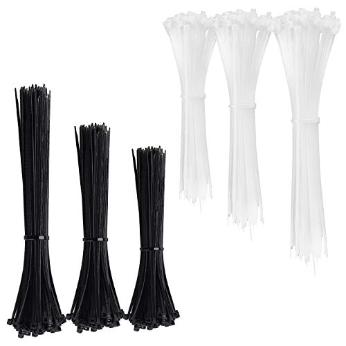Kabelbinder, 600er Kabelbinder Set Nylon Kabelbinderhalter, Schwarz und Weiß Zip Ties, UV Beständig, 100 x 2.5mm, 150 x 2.5mm, 200 x 2.5mm