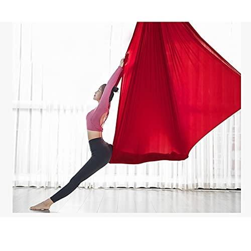 ZCXBHD Hamaca De Yoga Aérea Seda Pilates Columpio Yoga Colgante De Techo Honda Yoga Oscilación Inversión por Principiantes Los 5m * 2.8m (Color : Red)