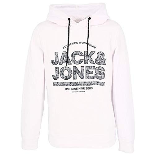Jack & Jones JCOFUND Sweat Hood Sudadera con Capucha, Blanco, M para Hombre