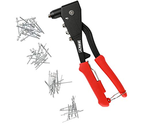 ARES 70017 - Professional Pop Rivet Gun with 60 Rivets - Rivet Sizes 3/32-inch, 1/8-inch, 5/32-inch, & 3/16-inch - Applications Include Sheet Metal, Automotive, and Duct Work