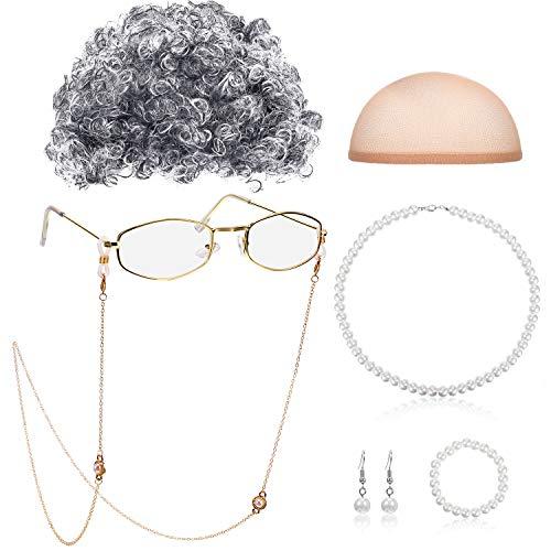 Gejoy Alte Dame Cosplay Set Oma Perücke Kappe Brille Ketten Kordeln Perle Perlen Halskette (Stil A)