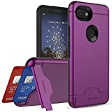 Teelevo Wallet Case for Google Pixel 3a, Dual-Layer Case with Hidden Card Storage and Integrated Kickstand for Google Pixel 3a, Purple