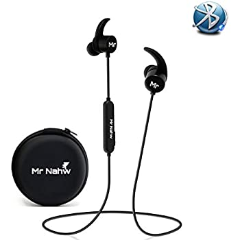 Amazon Com Wireless Bluetooth Headphones 4 1 By Mr Nahw Sport Magnet Sweatproof In Ear Earbuds With Built In Mic Ipx5 Waterproof Cvc 6 0 Noise Cancellation Technology 8 Hours Playtime Multi Point Function Home Audio