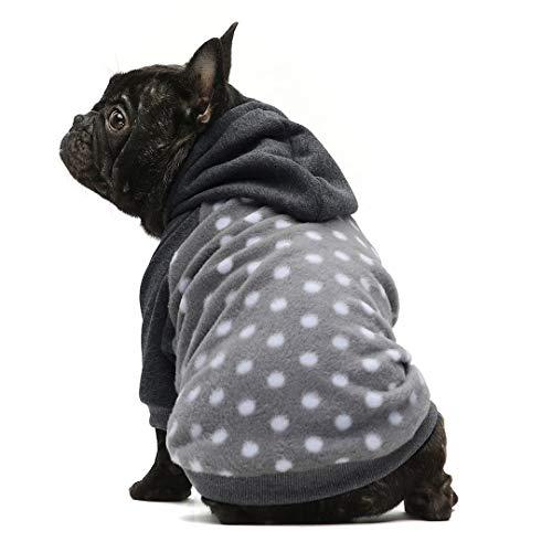 Fitwarm Polka Dot Pet Clothes Dog Hoodie Sweatshirts Pullover Cat Jackets Fleece Grey Medium