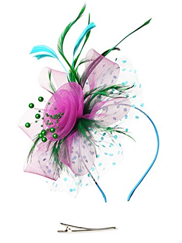Fascinators Headband Tea Party Hats for Women Royal Wedding Hat Feather Mesh Hair Clip (1-Green and Rose and Sky Blue)