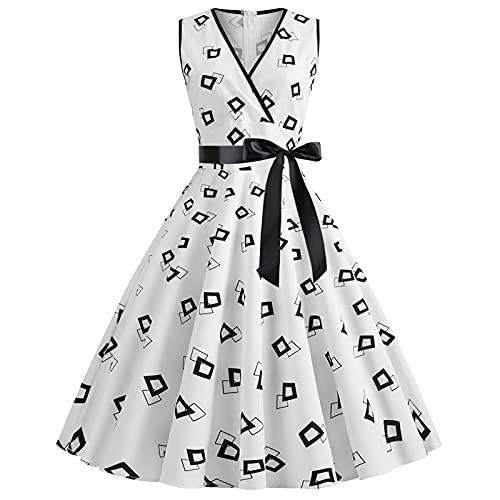 Vestido Rockabilly para mujer de los años 50 años 60 A Line de manga casquillo vintage Swing vestido de fiesta de señoras retro con estampado de puntos