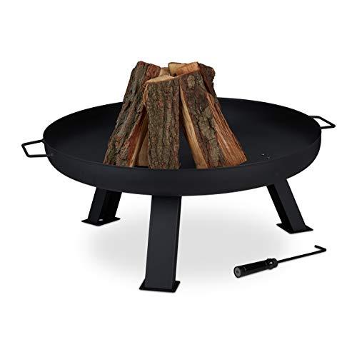 Relaxdays Feuerschale, Durchmesser: 80 cm, inkl. Schürhaken, Garten & Terrasse Feuerstelle, Feuerkorb, Stahl, schwarz