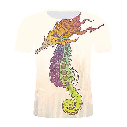 Herren T-Shirt 3D Farbiges Seepferdchen Gedruckt Kurzarm Sommerclub Straße Teenager Lässig Halbe Ärmel T-Shirt Jugendurlaub Strand Hip Hop Sport, L