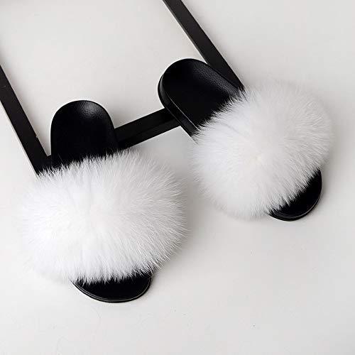 XLBHSH Dames Harige Slippers Dames Leuke Pluche Vos Haar Pluizige Slippers Vrouwen Bont Slippers Slippers voor Vrouwen Hot