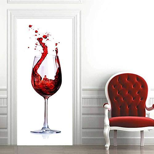 Puerta Pegatinas Mural Copa De Vino Tinto Creativo 3D Impermeable Autoadhesivo Fotomurales Pared 95 x 215 cm