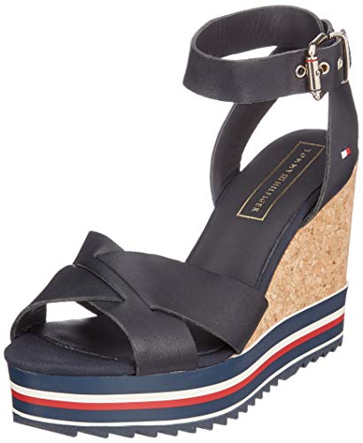 Tommy Hilfiger Damen Colored Stripes Wedge Sandal Plateausandalen, Blau (Midnight 403), 41 EU