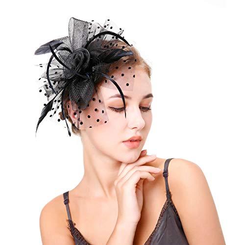 Fashband Fascinator Hat Flower Mesh Plumas en una diadema y un clip...