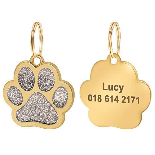 Placas para Perros 2 PCS Personalizado Perro Cat Identificación Tag Anti-Perdida Mascota Nombre Etiquetas Placas Grabado Perros Gatos Placa de identificación Colgante Pata Forma Redonda 2