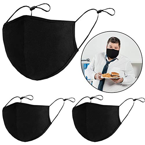 Safety Shields for Adults, Black Safety Shields Washable Reusable, Prevent from Dust Pollen and Haze, for Outdoor Activities(XL-3PCS)