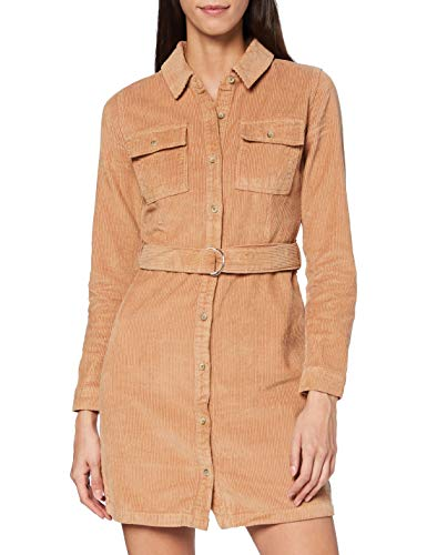 Miss Selfridge Camel Cord Shirt Dress Vestito Casual, Cammello, 8 Donna