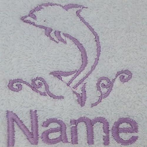 Adulte Peignoir de bain avec un dauphin Logo et nom de votre choix en blanc, taille M, L, XL ou XXL, blanc, Taille L