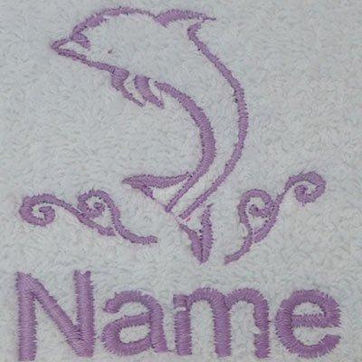 EFY Peignoir à capuche pour enfant avec logo dauphin et nom au choix Bleu roi 2, 4, 6, 8, 10 ou 12 ans