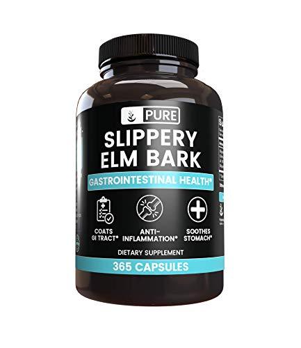 Slippery Elm Bark (365 Capsules) No Magnesium or Rice Filler, Non-GMO, Gluten-Free, 100% Pure