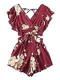 SweatyRocks Women's Boho 2 Piece Floral Print Knot Front Crop Top with Shorts Set Burgundy M