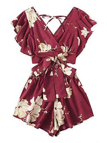 SweatyRocks Women's Boho 2 Piece Floral Print Knot Front Crop Top with Shorts Set Burgundy L.