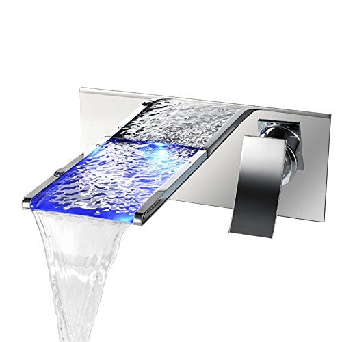 JinYuZe LED Waterfall Vanity Vessel Sink Faucet,Bathroom Wall-Mount Solid Brass Bath Sink Mixer Faucet,Polished Chrome
