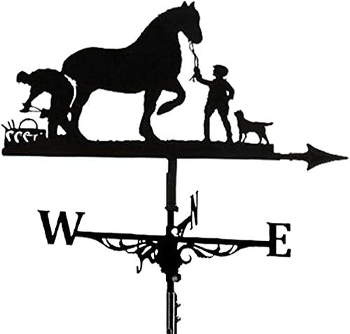 Wetterfahne Wetterhahn Windrichtungsanzeiger Man & Bauernpferd Hohl geschnitztes Design Edelstahl Windrichtung Schwarz Metall für Garten Hinterhof Dach-Bauernpferd