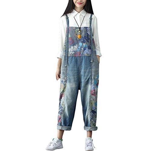 Sidiou Group Damen Casual Printed Baggy Hose Weite Bein Latzhosen Baumwolle Spielanzug Jumpsuit Spielanzug (One Size, Stil 1-Blau)
