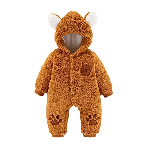 Trajes de forro polar para bebé, recién nacido, con pies, ropa de dormir con capucha, abrigo cálido, traje de nieve con orejas de oso, amarillo, 9 mes