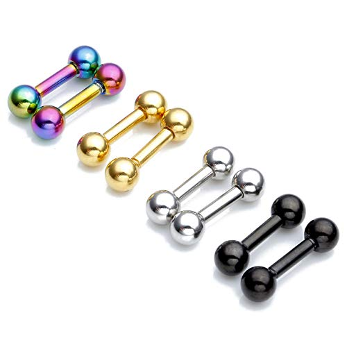 Zysta 4Pairs Colorful Barbell Earring Studs Set Stainless Steel Eyebrow Lip Nose Nipple Body Piercing