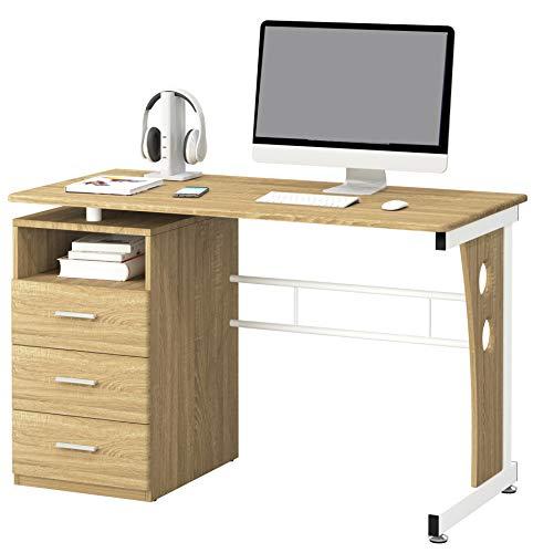 SixBros. Schreibtisch mit 3 Schubladen, Bürotisch in Eiche Holzoptik, Büro & Home Office, 120 x 58 cm S-352/2074