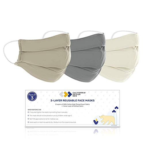 100% Cotton Face Mask Reusable (L/XL) - 3 Color Set, Washable & Breathable, Densely Woven Fabric, 3 Layer Protection, Natural Cloth Mask with Elastic Ear Loops, Designed For Home, Office & Outdoors