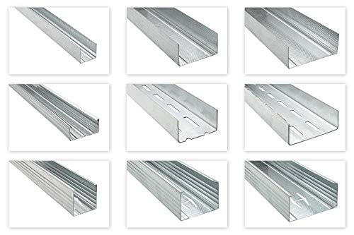 HEXIM Trockenbauprofile UD CD UW CW UA - die wichtigsten Trockenbau Profile für Wand & Decke - (CW50: 6 Stück je 2 Meter) Ständerwand Randprofil