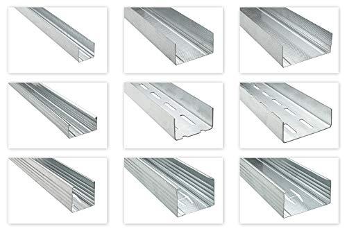 HEXIM CW-Wandprofil 50mm - große Auswahl an Trockenbauprofilen zur Deckenabhängung sowie Ständerwerk - Versandpaket: 12 Stück je 3 Meter
