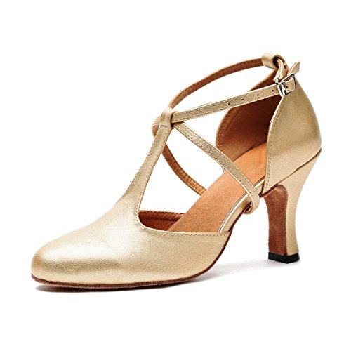 MINITOO Damen Latein Salsa T-Strap Closed-Toe Gold Synthetik Ballroom Tanzschuhe Party Schuhe EU 41