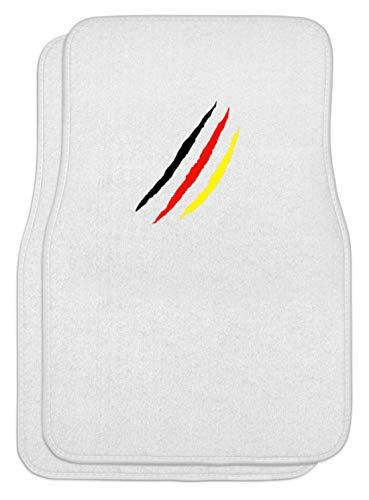SPIRITSHIRTSHOP Tapis de sol pour voiture Noir/rouge/doré/motif drapeau de l