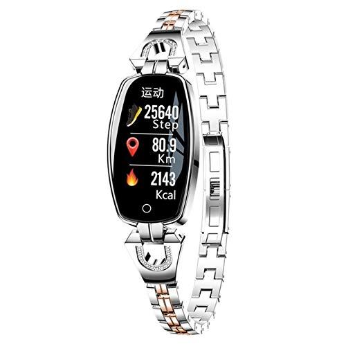 FOTGL 2021 Pulseira inteligente feminina de luxo para relógio inteligente Reloj pressão arterial monitor de frequência cardíaca pulseira esportiva para Android iOS Lady (cor: prata)