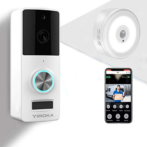 YIROKA Videocitofono WiFi di Sicurezza, Campanello per Videocamera Senza Filli 1080P HD, Audio a 2 Vie, Impermeabile IP65, Rilevamento PIR, Grandangolo 166°, con Ricevitore da Interno Luce Notturna