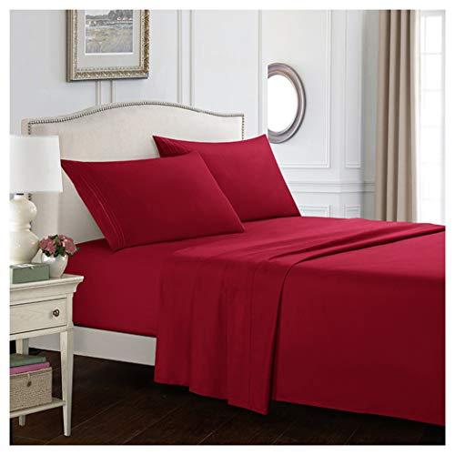 GUOCU Completo Lenzuola e Federa Letto Singolo Matrimoniale in Morbida Microfibra, Tinta Unita Pair Pillowcases(51 * 76cm) Vino Rosso