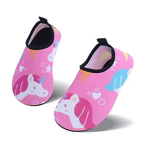 UMmaid Kids Toddler Water Swim Shoes Barefoot Aqua Socks for Beach Pool Surf Yoga, pink-unicorn, size 28/29