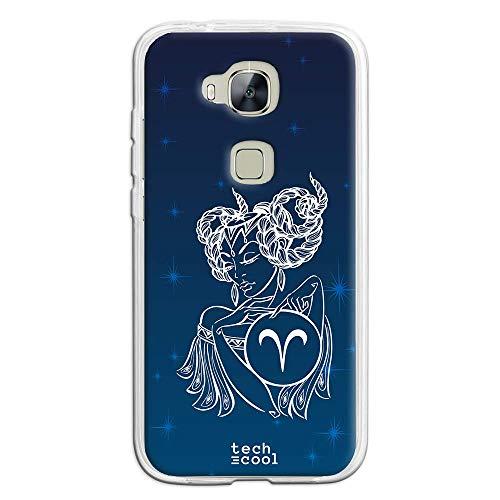 Funnytech® siliconen beschermhoes voor Huawei GX8 [flexibele siliconengel, exclusief design] sterrenbeeld Aries achtergrond hemel