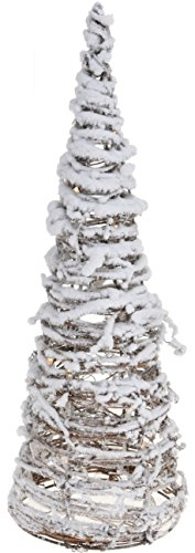 CHICCIE Deko Pyramide aus Weide schneebeckt - 40cm - Beleuchtet Weihnachten Batterie